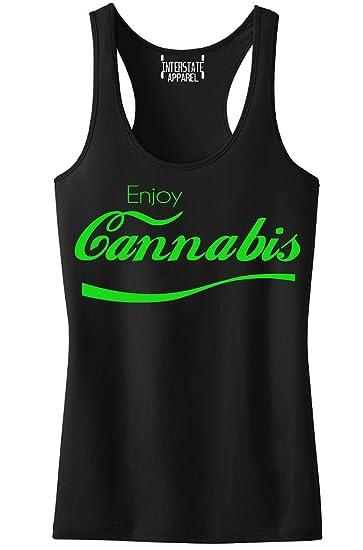 Green Enjoy Cannabis V364 Tee Junior's Black Racerback Tank Top T-Shirt Small Black