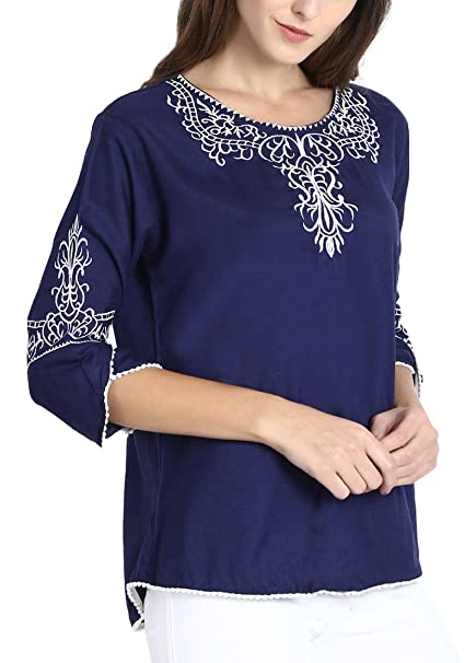 f205c69111117 Triumphin Blue Women Embroidered Rayon Cotton Top for Dailywear ...