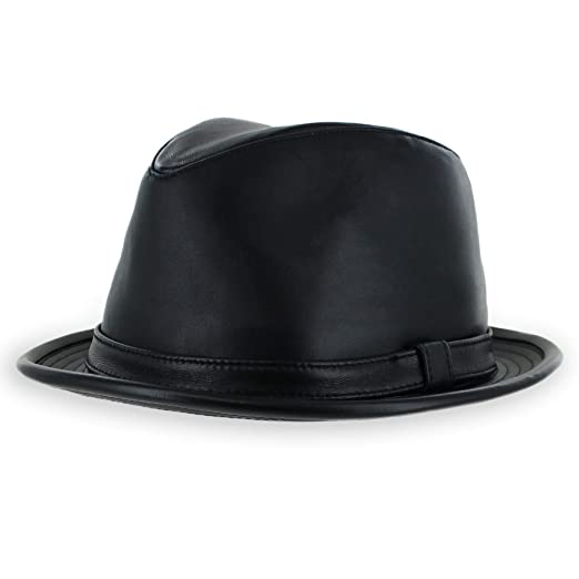 346284fa2ec19 Belfry Leather Stingy Brim Dress Fedora Mens Womens Black at Amazon ...