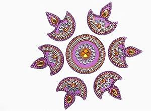 Floor Rangoli / Home Decor /Acrylic Traditional Handmade Rangoli / Gift for Home / Floor Decor / Indian Wedding Festival Decoration / Gift Return Gift. Size:- 7
