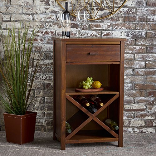 Clovis Farmhouse Dark Oak Acacia Wood Bar Cabinet (Furniture Acacia)