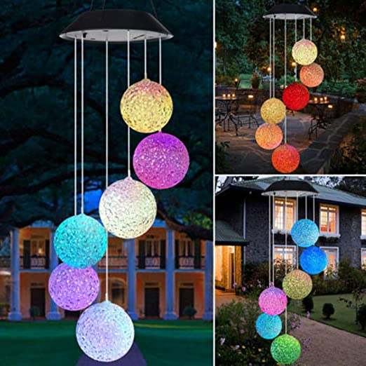 Sonnengott und Mond Balkon VNEIRW Solar Windspiele Kugel Licht Color-Changing 6 LEDs H/ängelampe Lichterkette Kristalle Pendelleuchten f/ür Garten Veranda Dekoration