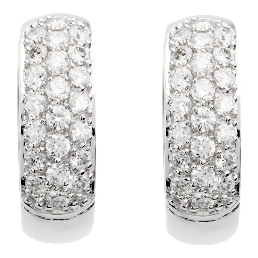 14K White 7//8 CTW Diamond Hoop Earrings