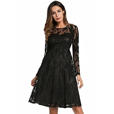 Mounter Womens Dress,Sexy Bodycon Elegant Slim Bodycon Long Sleeve Business Round Neck Lace Mini