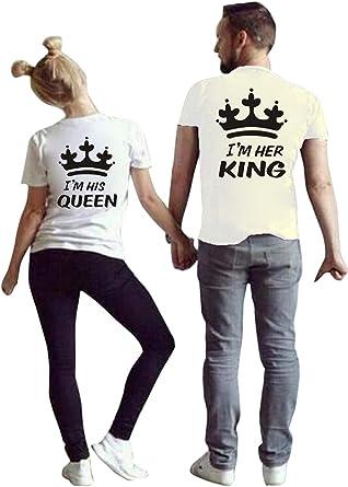 Jumojufol Pareja Camisetas Mujeres Hombres Juego Rey Reina Su Su Camiseta Tops 2 Pack: Amazon.es: Ropa y accesorios