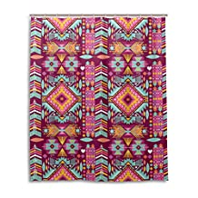 JSTEL Decor Shower Curtain Mexican Pattern Print 100% Polyester Fabric Shower Curtain 60 x 72 Inches for Home Bathroom Decorative Shower Bath Curtains Black