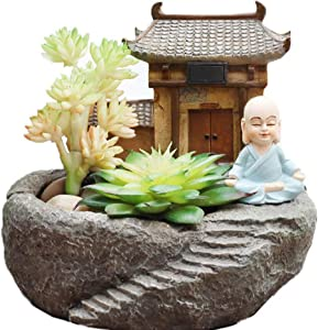 MOONSTAR MIRACLE Monk with Temple Resin Succulent Pot