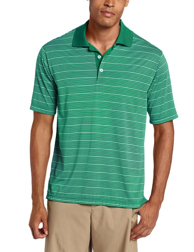 (adidas Golf Men's Climalite Two-Color Stripe Jersey Polo, Celtic/White, Small)