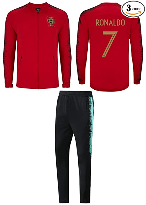 Fan Kitbag Ronaldo #7 Kids Soccer Tracksuit All Youth Sizes CR7 Cristiano Ronaldo 7 Football Track Jacket Top ✓ Kids Futbol Track Pants Great Gift
