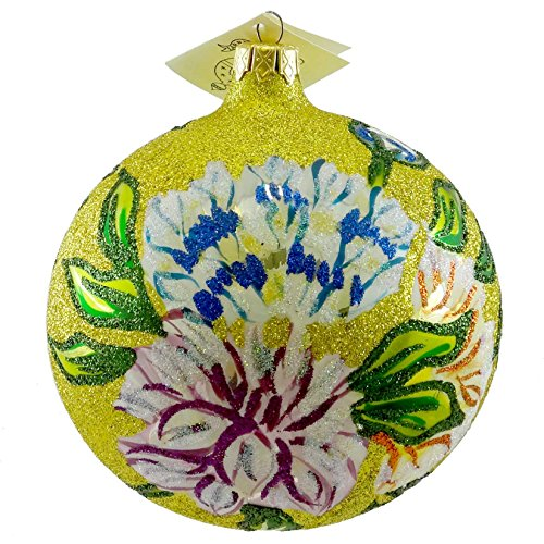 Larry Fraga SPRINGTIME GOLD Blown Glass Ornament Ball Flower Floral ()