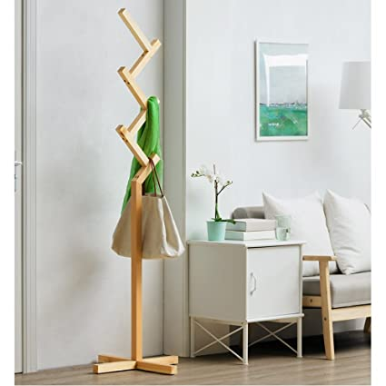 6aa65bfbc22 LJHA yimaojia Coat and Hat Rack Solid Wood Stand Simple Household Clothes  Storage Rack Four Colors