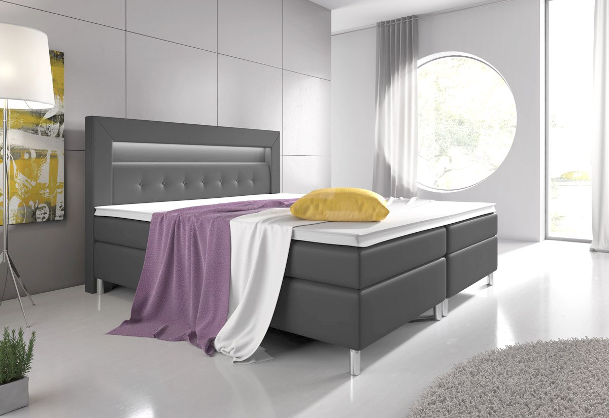 boxspringbett 140x200 grau mit topper led beleuchtung. Black Bedroom Furniture Sets. Home Design Ideas