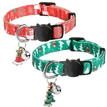 HOMIMP - Juego de 2 Collares de Gato de Navidad de liberación rápida para Gatos, Cachorros Rojos y Verdes de 20 a 30 cm: Amazon.es: Productos para mascotas