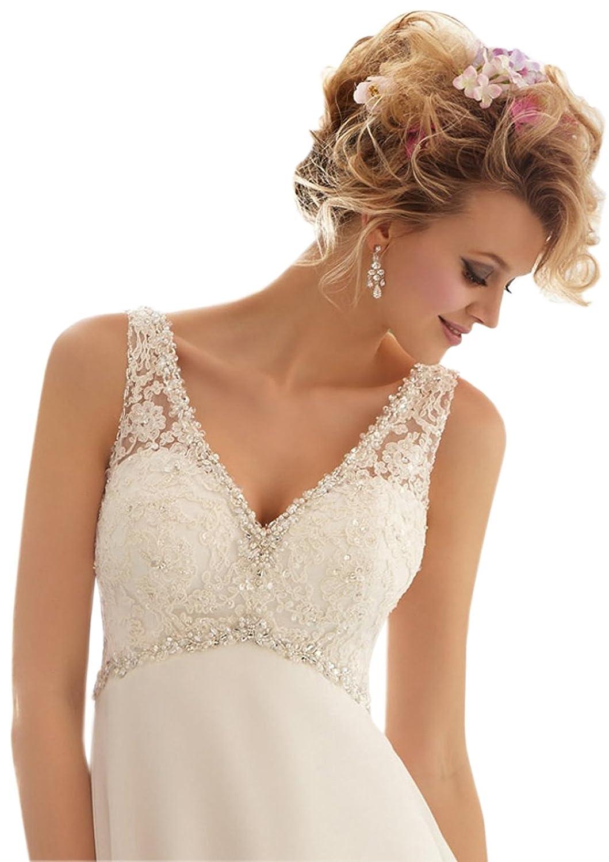 Ikerenwedding Women's V-Neck V-Back Beaded Lace Applique Court Train Chiffon Wedding Dress