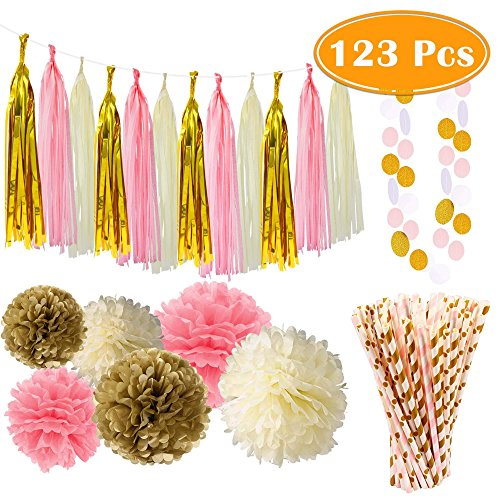 Tassels products online in the uae abu dhabi dubai sharjah and paxcoo 123 pcs pink and gold party supplies with paper straws for moms day decorations junglespirit Image collections