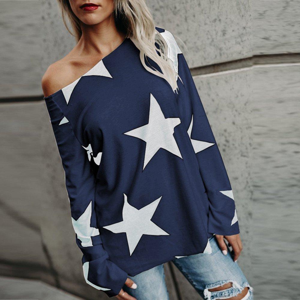 ... Camiseta de Manga Larga de Sexy Blusa Casual Tops Estampados Camiseta Pulóver Capucha Estrella Sin Tirantes Impresión: Amazon.es: Ropa y accesorios