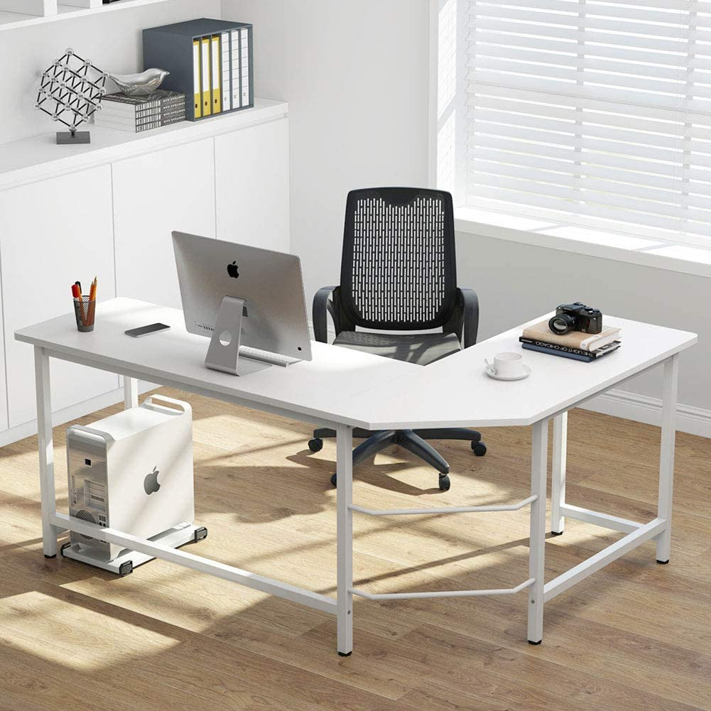 Tribesigns Modern L-Shaped Desk Corner Computer Desk PC Laptop Study Table Workstation Home Office Wood & Metal, All White