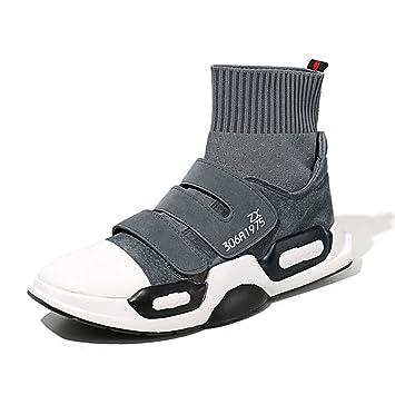 YAN Botas para Hombre Gamuza Calcetines elásticos de otoño e Invierno Zapatos Deportivos Moda Zapatillas Altas Zapatillas para Caminar al Aire Libre Negro ...