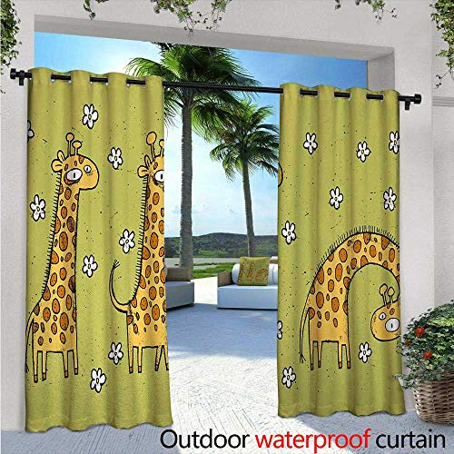 - Animal Outdoor Privacy Curtain for Pergola W72 x L108 Hand Drawn Illustration of Giraffes on Background with Flowers Thermal Insulated Water Repellent Drape for Balcony Avocado Green and Light Cara