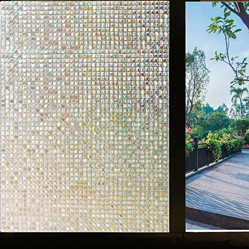Clear Frosted Mosaic (Generic 3D Window Films Non Glue Static Cling Decorative Film Mini Mosaic Privacy Window Film (17.7