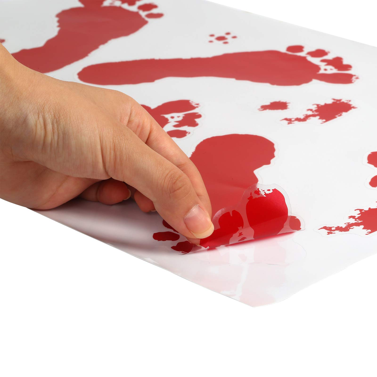 ZERHOK Halloweenparty Blutige Hände Sticker Horror Deko Handabdruck Schaurig Fußabdruck für Fenster Tür Wand Spiegel Badewanne (6 Paket)