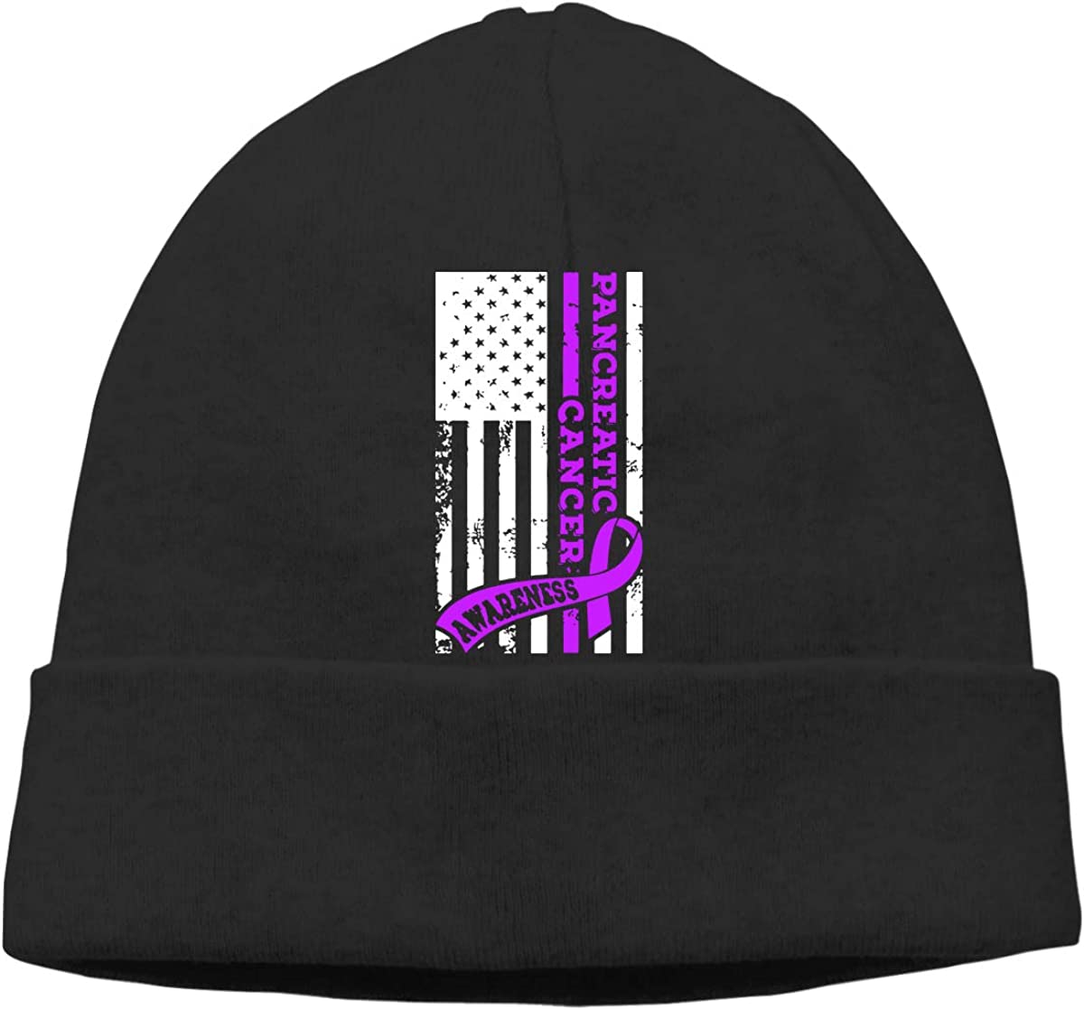 GDSG5/&4 USA Flag Pancreatic Cancer Awareness Men and Women Daily Slouchy Cycling Beanie Cap