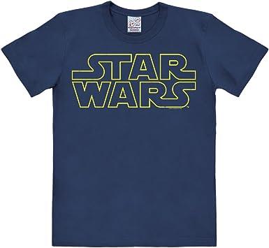 Logoshirt Camiseta La Guerra de Las Galaxias - Logotipo - Camiseta Star Wars - Logo - Camiseta con Cuello Redondo Azul Oscuro - Diseño Original con ...