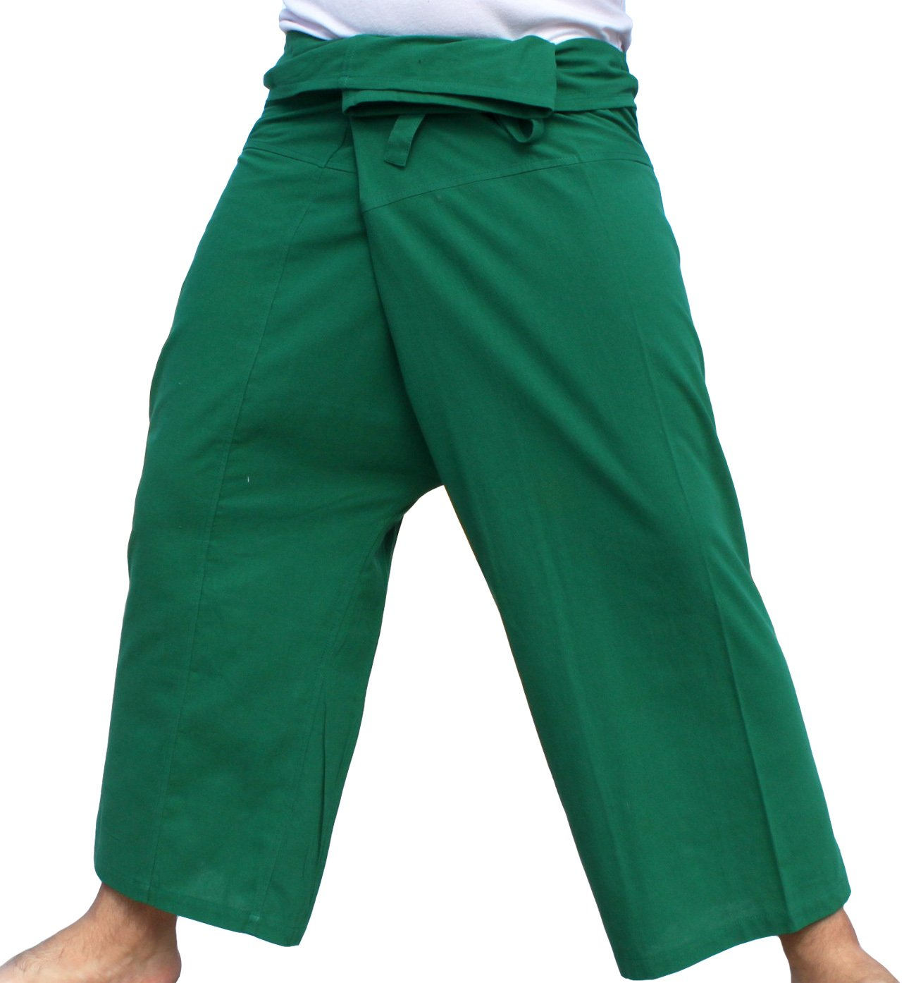 RaanPahMuang Brand Light Summer Cotton Thai Plain Fisherman Wrap Pants Tall Cut, Medium, Dartmouth Green by Raan Pah Muang