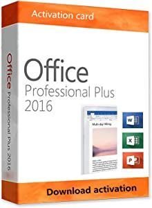Office 2016 Professional Plus For Windows 10 Home 32/64-Bit Activation Card