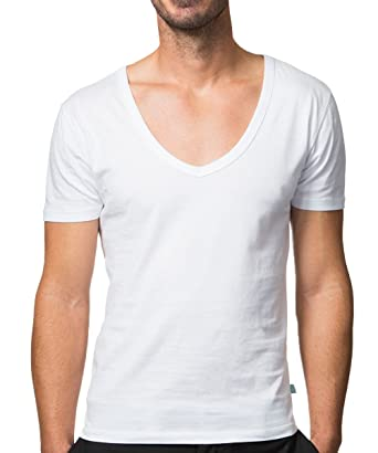 b3337ab9dab5 Collected Threads Men's Deep V-Neck Invisble Undershirts 3-Pack Small White  ...