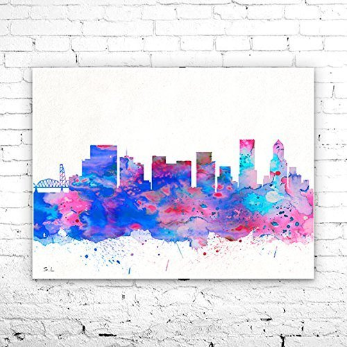 Amazon.com: Portland Oregon City Skyline, Portland poster ...