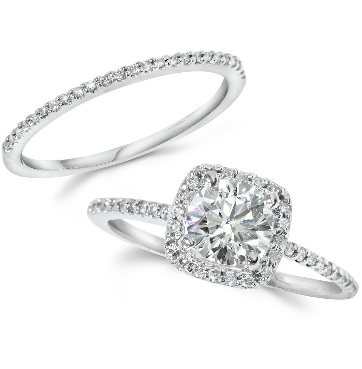 Diamond Engagement Ring Matching Halo Wedding Ring Set 14K White Gold Round