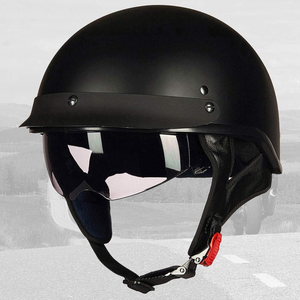 ILM Half Helmet Motorcycle Open Face Sun Visor Quick Release Buckle DOT Approved Cycling Motocross Suits Men Women M, Patriotic Flag