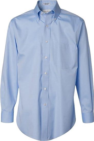 4f47f6c0 Van Heusen Men's Long-Sleeve Non Iron Pinpoint Oxford Shirt, Blue Mist,  Large
