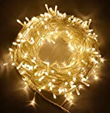 100ft/30m Warm White 300 LED Outdoor & Indoor Battery Fairy Lights w/ Remote & Timer, Waterproof (8 Modes, 4 x AA batteries, Dimmable, Clear Cable)