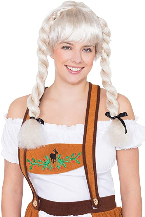 Bavarian Ladies Wig Fancy Dress Oktoberfest Plaited Pigtails Costume Accessory