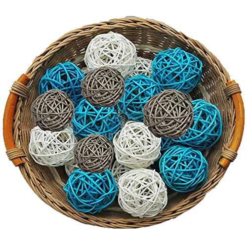15PCS Mixed Baby Blue Grey White Natural Wood Rattan Ball Christening Elephant Boy Baby Shower Decoration Nursery Mobiles (Craft Rattan Articles)