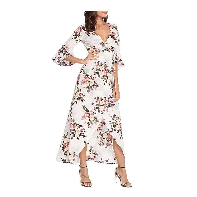 Morbuy Vestido Verano Mujer Bohemia, Flor Impreso Vestido ...