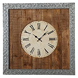 Diva At Home 28 Brown and Grey Galvanized Wall Clock with Roman Numerals