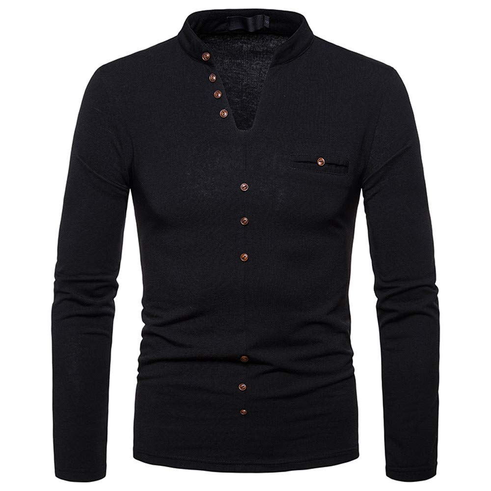 GoodLock Clearance! Mens Fashion Tops Casual Autumn Winter Cashmere Printing Button Long-Sleeve T-Shirt Blouse