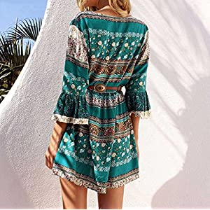 Tosonse Boho Floral Dresses for Women 3/4 Sleeve Ladies Evening Party Swing Dress