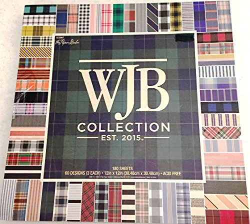 WJB Collection 12x12 Plaid Scrapbooking Paper Pad, Plaids and Stripes 180 Sheets