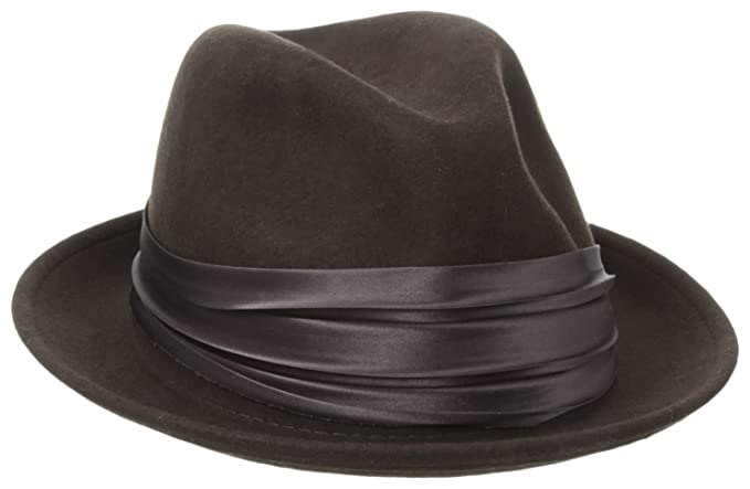 aa59a37302f Stacy Adams Men s Crushable Wool Felt Snap Brim Fedora Hat  Amazon.in   Clothing   Accessories