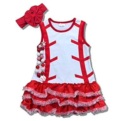 85bdcc16f1b Cute Kids Clothing Toddler Girl Baseball Dress Boutique Outfit Clothing Set  (L 4-5