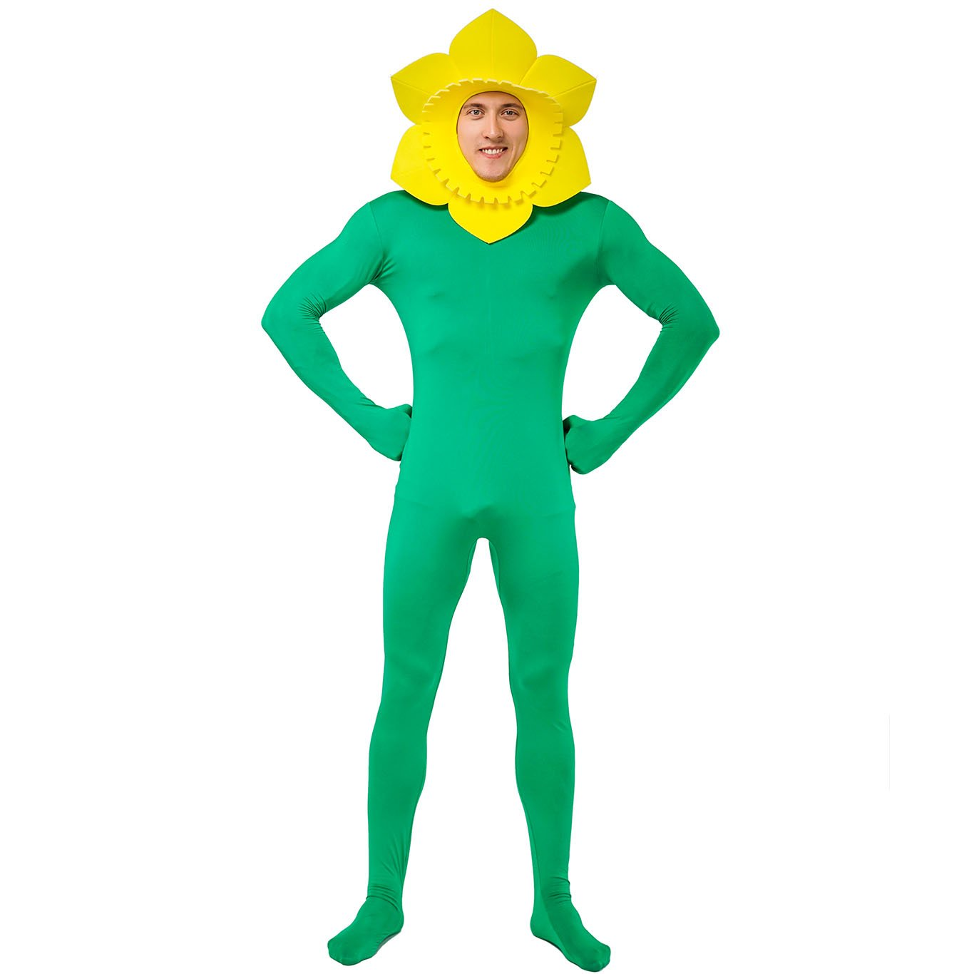 DSplay Adult Men's Bodysuit Sunflower Costumes Green,Yellow by DSplay
