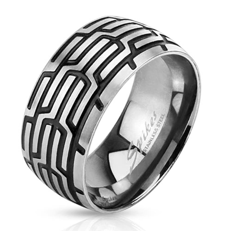 Tapsi´s Coolbodyart Dome Ring Edelstahl Silber Schwarz 10mm Breit ...