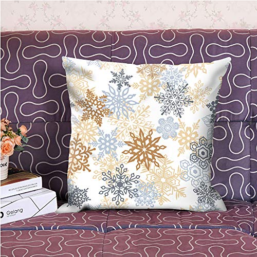 """oFloral Snowflake Decorative Throw Pillow Cover Pillow Case Square Cushion Cover for Sofa Couch Home Car Bedroom Living Room Decor 18"""" x 18"""" Grey Yellow"""