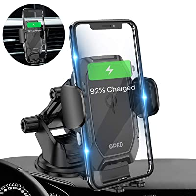Wireless Car Charger Mount, GPED Auto-Clamping 10W/7.5W Qi Fast Charging Car Mount, 2 in 1 Dashboard Air Vent Phone Holder Compatible for iPhone 11/11 Pro/Xs MAX/XS/XR/X/8/8 Plus/Samsung S10/S9