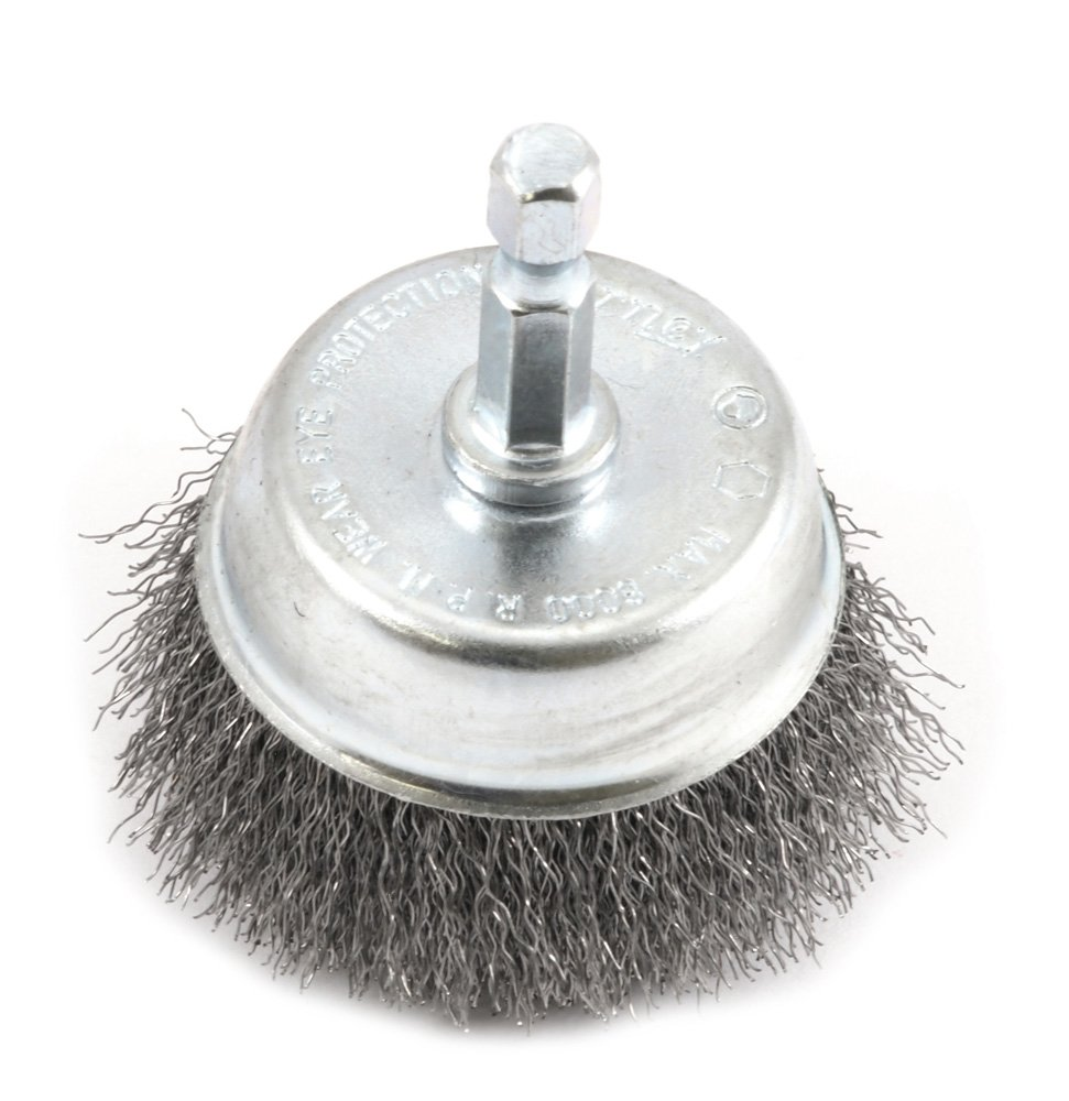 Forney 72730 Wire Cup Brush, Fine Crimped with 1/4-Inch Hex Shank, 2-Inch-by-.008-Inch