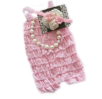 d3f42114398 Baby Girl Lace Romper Set- Baby Birthday Outfit by Pretty Baby Bowtique (6-